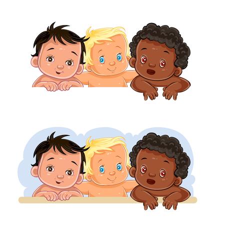 Set of vector clip art illustrations of little children of different nationalities Vektorové ilustrace