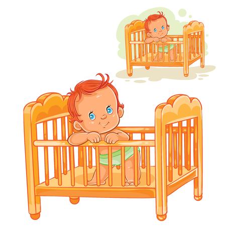 Vektor Clipart Kunst Illustration Baby In Einer Windel Schläft Auf