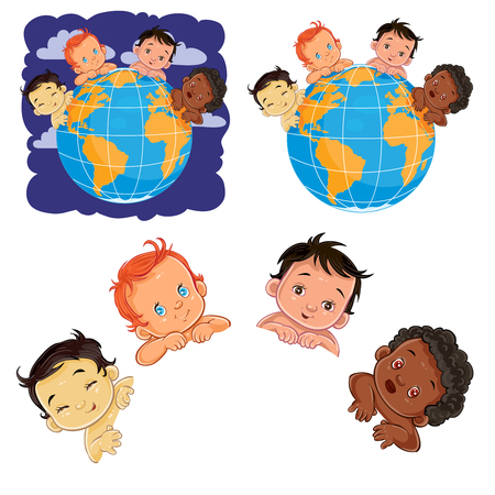 Vector illustration of young children of with different skin color located around the globe. A symbol of peace Illustration