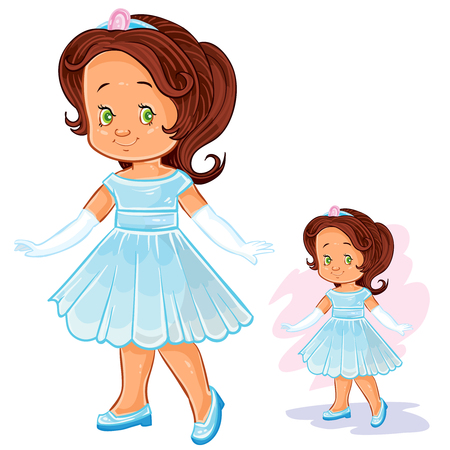 Vector clip art illustration with young girl in ballroom, period costume. Print, template, design element Illustration