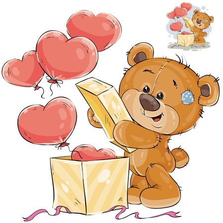 Vector illustration of a teddy bear opens a box with balloons in the shape of a heart. Template for greeting card with Valentines day Ilustração