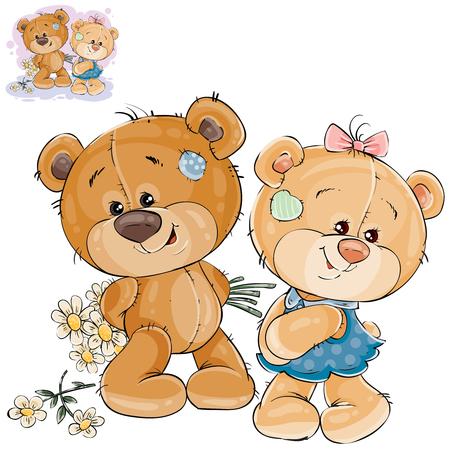 De vector illustratie van een teddybeer verbergt achter een boeket van bloemen en durft niet aan haar vriendin te geven. Sjabloon voor wenskaart met Valentijnsdag