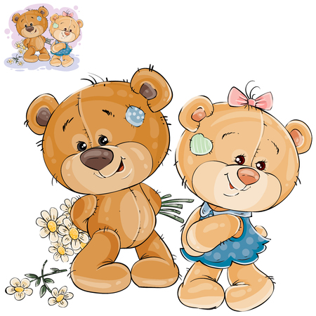 Vector illustration of a teddy bear hides behind back a bouquet of flowers and does not dare to give them to her girlfriend. Template for greeting card with Valentines day Ilustração