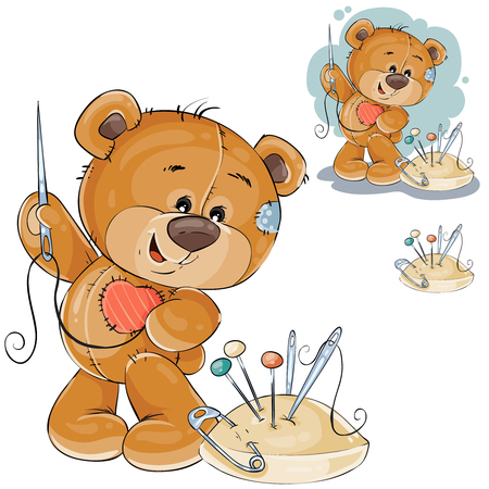 Vector illustration of a teddy bear sewing on itself a red patch in the shape of a heart. Template for greeting card with Valentines day