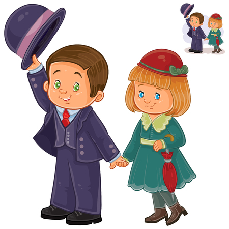 Vector illustration of a little boy and girl dressed in period costumes. Print, template, design element Illustration
