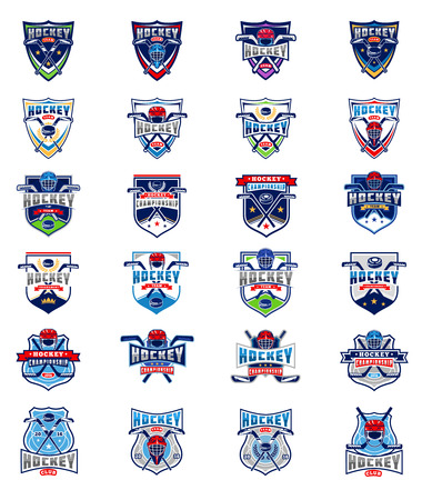 tough: set of color hockey badges, stickers, emblems isolated on white