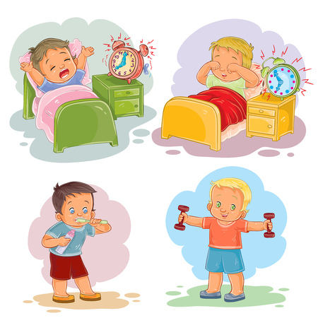 Set of clip art illustrations of little children wake up in the morning, brush their teeth, doing workout Stock Photo