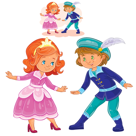 period costume: Vector illustration of a little boy and girl dressed in period costumes. Print, template, design element Illustration