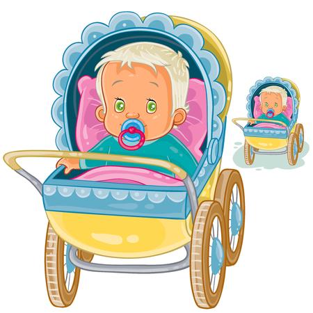 Vector illustration of a baby lies in a pram and sucks a pacifier. Print, template, design element Ilustração