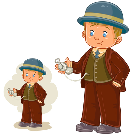 period costume: Vector illustration of a little boy dressed in period costume and holds in his hand a pocket watch. Print, template, design element