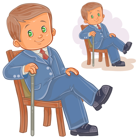 period costume: Vector illustration of a little boy dressed in retro suit sitting on a chair and holding a cane in his hand. Print, template, design element