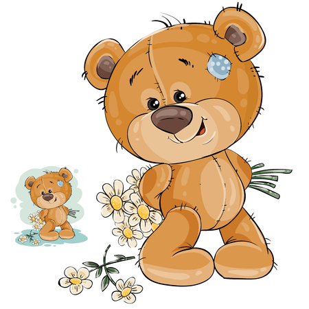 Vector illustration of a teddy bear hides behind back a bouquet of flowers. Template for greeting card with Valentines day, Womens day and birthday Ilustração