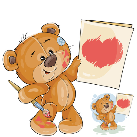 Vector illustration of a teddy bear holding in the paws a painted picture with a red heart. Template for greeting card with Valentines day