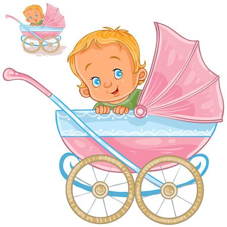 De vectorillustratie van een baby ligt in een kinderwagen en glimlachend, zijaanzicht. Print, sjabloon, ontwerpelement