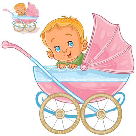 Vector illustration of a baby lies in a pram and smiling, side view. Print, template, design element