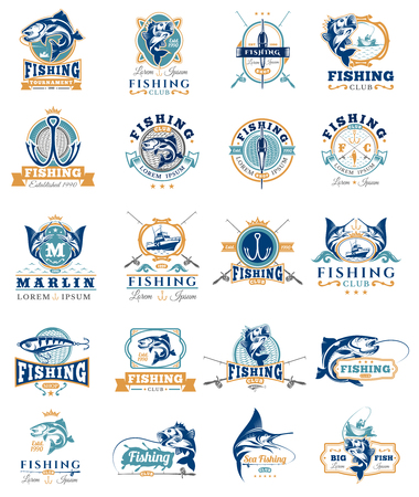 Big set of badges, stickers on catching fish. Emblems for fishing club, tournaments