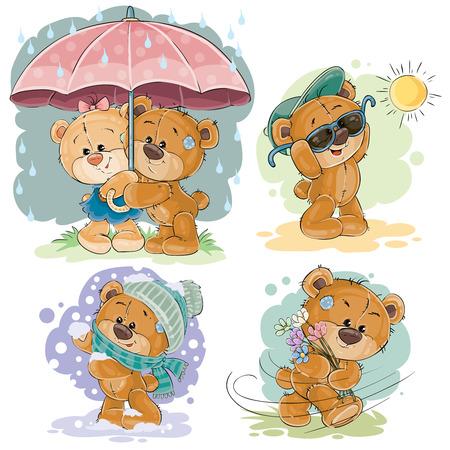 Conjunto de ilustraciones de clip art de oso de peluche y diferentes estaciones Foto de archivo - 78011708