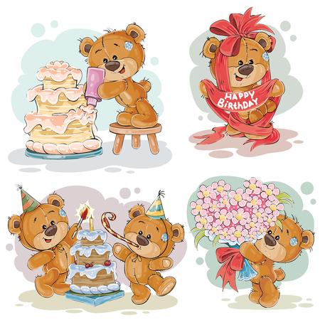 cute bear: Set of clip art illustrations of teddy bear wishes you a happy birthday