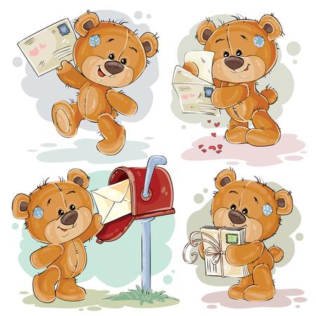 Set of clip art illustrations of teddy bear gets and sends letters Banco de Imagens