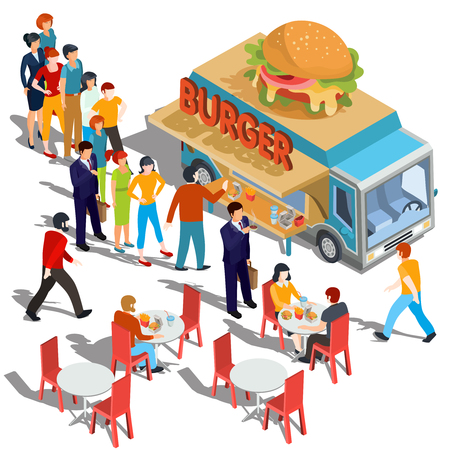 Vector isometric illustration people order and buy food and drink in a hamburger food truck, street fast food