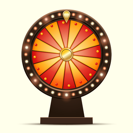 wheel of fortune: Vector cartoon illustration of a glowing wheel fortune or luck isolated on a light background