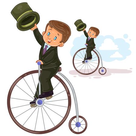 Vector illustration, icon of small boy in period costume ride retro bike Illustration