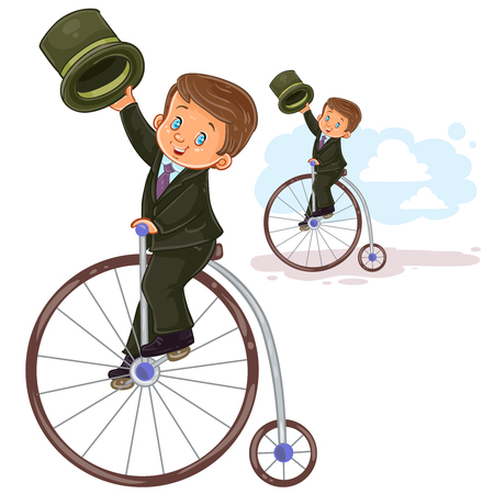 period costume: Vector illustration, icon of small boy in period costume ride retro bike Illustration