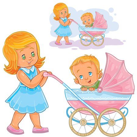 Vector clip art illustration older sister wheeled baby carriage with kid. Print, template, design element