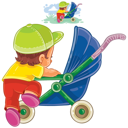 Vector clip art illustration of little child climbs into a pram. Print, template, design element