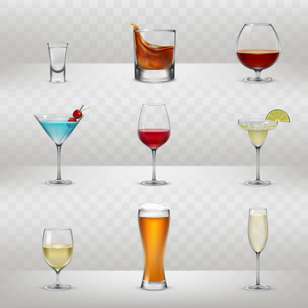 Set van vectorillustraties van glazen voor alcohol in een realistische stijl