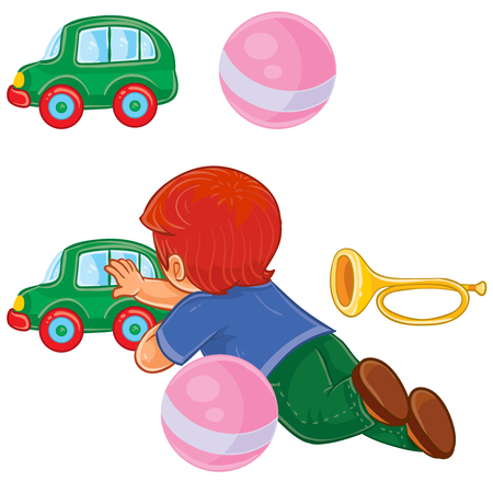 Vector clip art illustration of a little boy lies on his stomach and rolls a car.