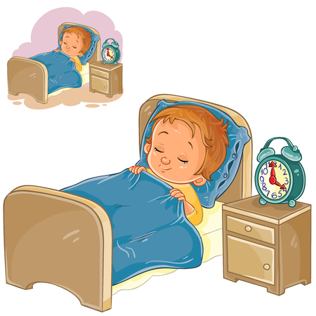 Vector clip art illustration of a little baby sleeping in his bed. Stok Fotoğraf - 78257129