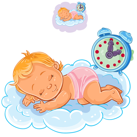 Vector clip art art illustration baby in a diaper is sleeping on the cloud.