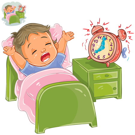 Vector illustration of a little child woke up in the morning from ringing the alarm clock and stretches in bed. Illustration