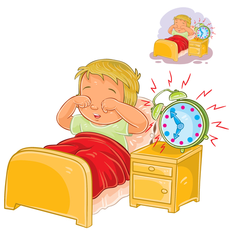 Vector illustration of a little child woke up in the morning from ringing the alarm clock and rubbing his eyes with his hands. Illustration