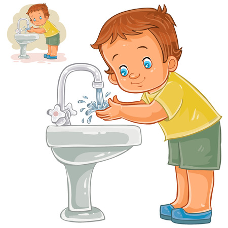 Vector illustration of a little boy washes his hands with water from a tap. Print, template, design element Çizim
