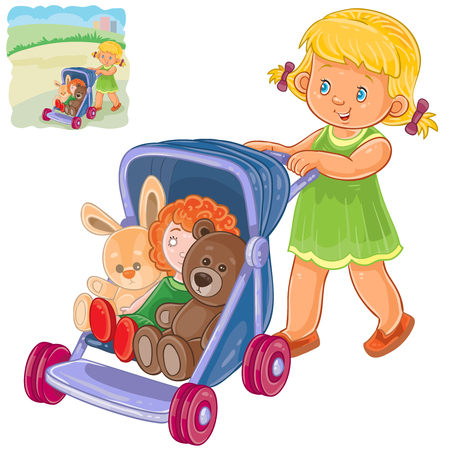Vector illustration of a little girl rolls the stroller with her toys. Print, template, design element Illustration