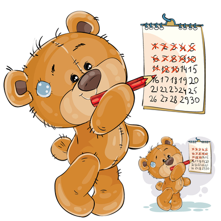 Vector illustration of a brown teddy bear strikes out the days in the calendar. I miss you. Print, template, design element