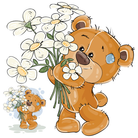 cute bear: Vector illustration of a brown teddy bear holding a bouquet of flowers in his paws. Print, template, design element for greeting cards