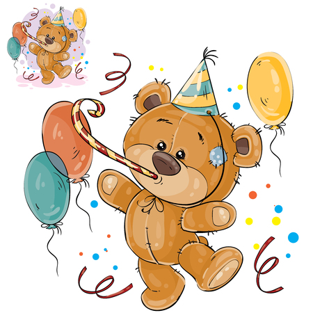 Vector illustration of a brown teddy bear in a cardboard hat and with a whistle surrounded by balloons. Print, template, design element for greeting cards and invitations to a party Ilustração