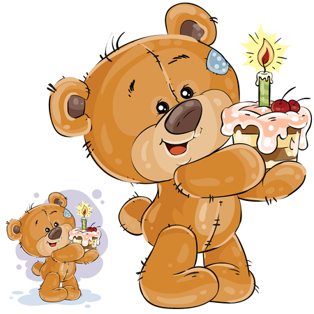 Vector illustration of a brown teddy bear holding a cake with a candle in its paws. Print, template, design element for greeting cards and invitations to a party Illustration