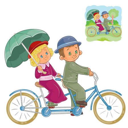 Vector illustration of small children in the period costume riding on a tandem bike. Print, template, design element