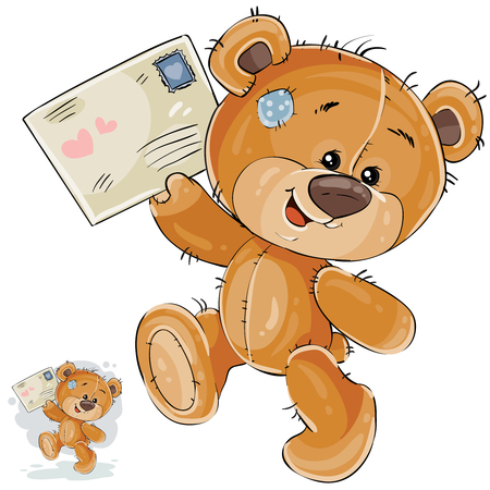 its: Vector illustration of a brown teddy bear holding in its paws received love letter. Print, template, design element Illustration