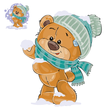 cute bear: Vector illustration of a brown teddy bear rejoicing in the fallen snow. Print, template, design element