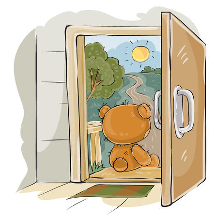 Vector illustration of a brown teddy bear sad sitting on the porch, looking at the road and waiting for someone. Print, template, design element