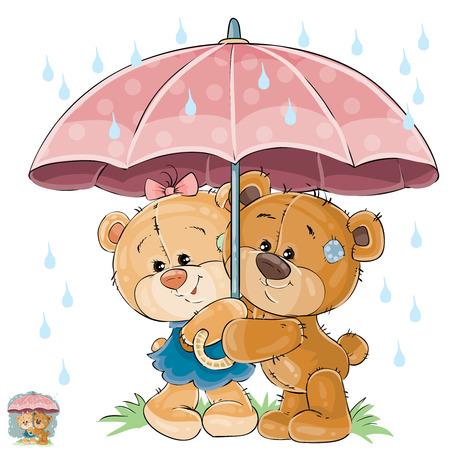 Vectorillustratie van twee het bruine teddybeerjongen en meisje verbergen van de regen onder de paraplu. Print, sjabloon, ontwerpelement