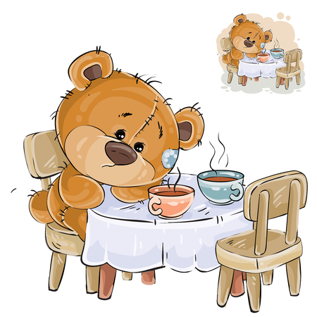 Vector illustration of a brown teddy bear sitting at a table with two cups and missing someone. Print, template, design element