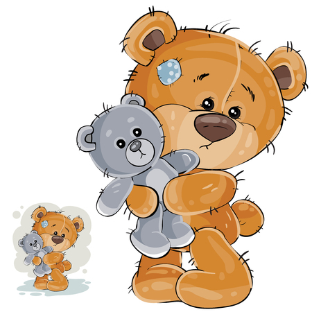 Vector illustration of a brown teddy bear hugging his soft toy and missing someone. Print, template, design element Çizim