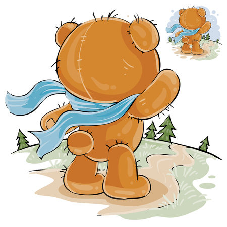 Vector illustration of a brown teddy bear sad standing in the wind, looking at the road and waiting for someone. Print, template, design element Illustration