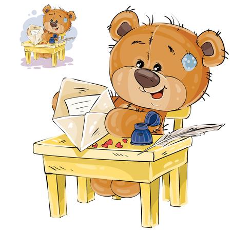 Illustration vectorielle d'un ours en peluche marron assis à la table, mis dans une enveloppe de courrier écrite lettre d'amour. Impression, modèle, élément de conception